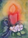 Kerze mit Christrose - Weihnachtskarte